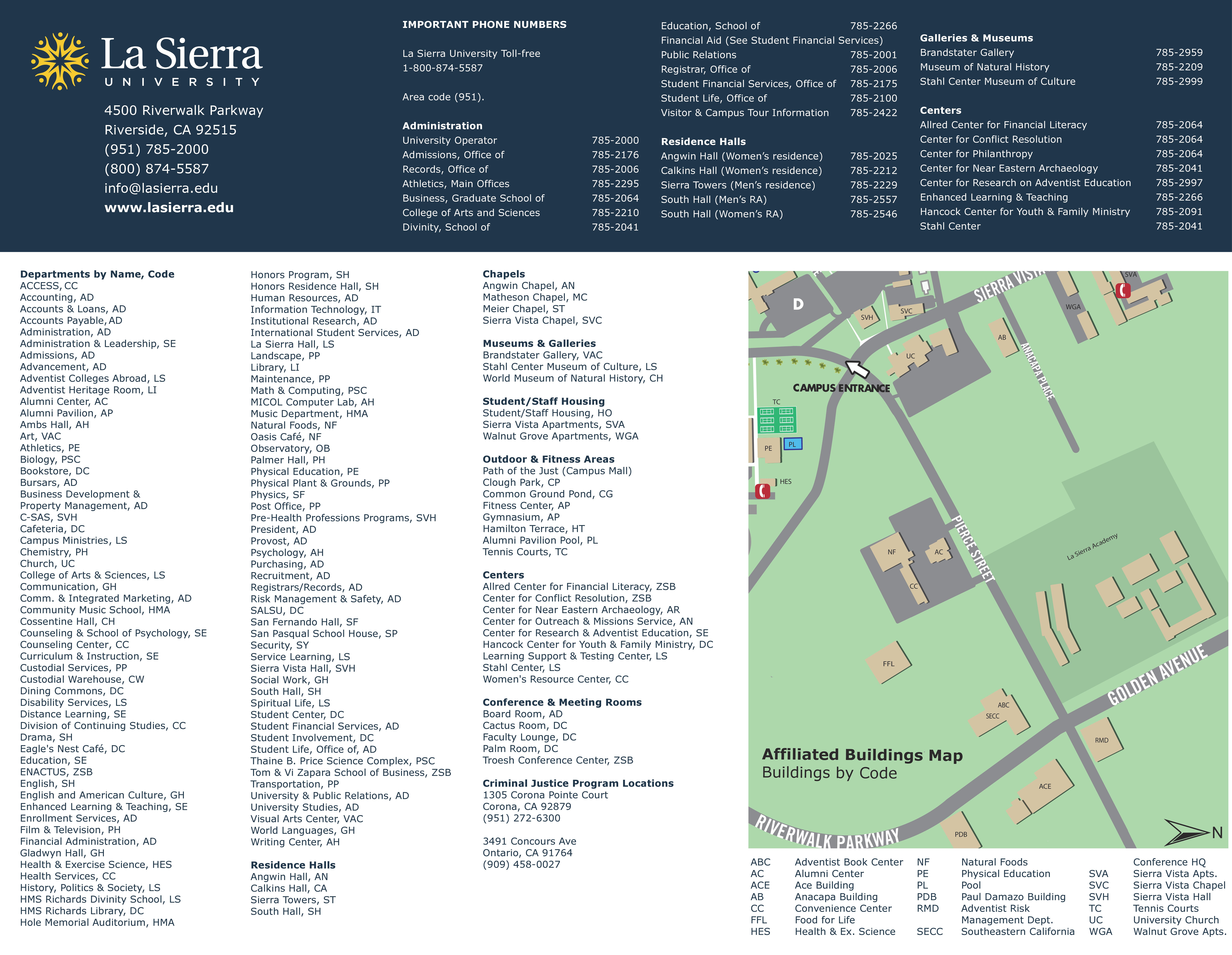 Riverside Campus Map.Campus Map Office Of Advising Career Success La Sierra University